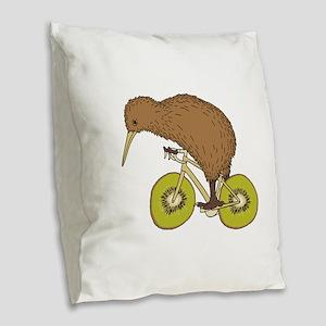 Kiwi Riding Bike With Kiwi Whe Burlap Throw Pillow