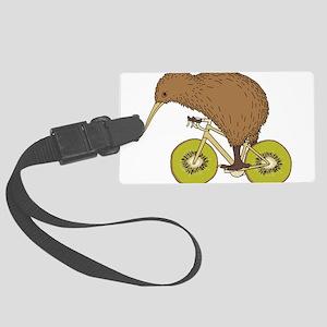Kiwi Riding Bike With Kiwi Wheel Large Luggage Tag