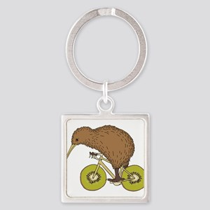 Kiwi Riding Bike With Kiwi Wheels Keychains