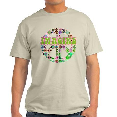 Retro Peace Sign Imagine Light T-Shirt
