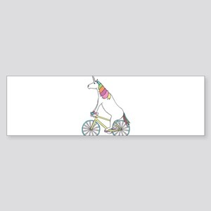Unicorn Riding Bike With Unicorn Ho Bumper Sticker