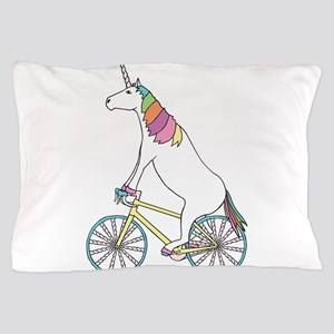 Unicorn Riding Bike With Unicorn Horn Pillow Case