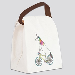 Unicorn Riding Bike With Unicorn Canvas Lunch Bag