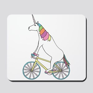 Unicorn Riding Bike With Unicorn Horn Sp Mousepad