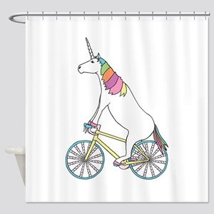 Unicorn Riding Bike With Unicorn Ho Shower Curtain