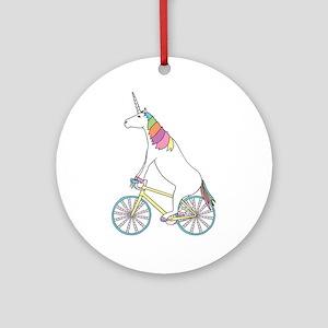 Unicorn Riding Bike With Unicorn Ho Round Ornament