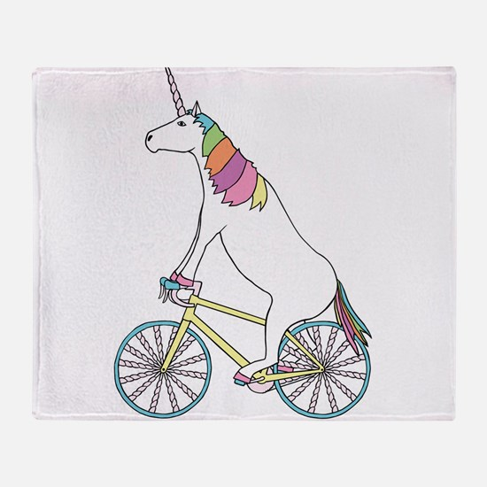 Unicorn Riding Bike With Unicorn Hor Throw Blanket