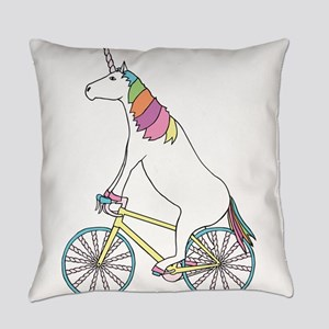 Unicorn Riding Bike With Unicorn H Everyday Pillow