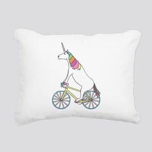 Unicorn Riding Bike With Rectangular Canvas Pillow