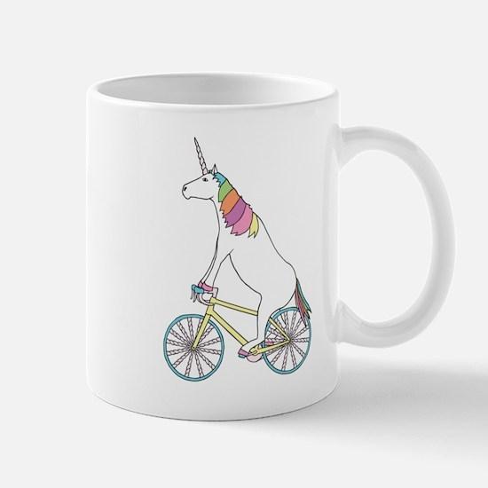 Unicorn Riding Bike With Unicorn Horn Spoked Mugs