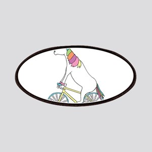 Unicorn Riding Bike With Unicorn Horn Spoked Patch