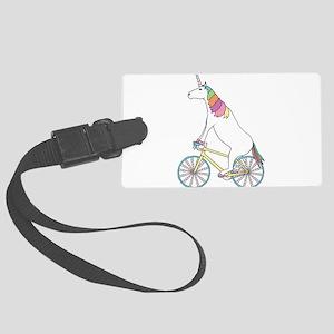 Unicorn Riding Bike With Unicorn Large Luggage Tag