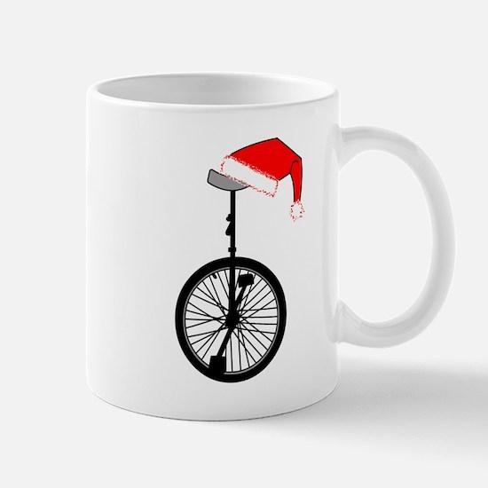 Unicycle Santa Hat Mugs
