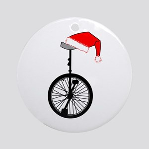 Unicycle Santa Hat Round Ornament