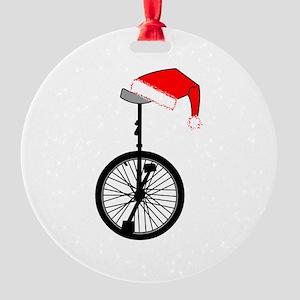 Unicycle Santa Hat Ornament