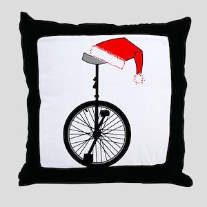 Unicycle Santa Hat Throw Pillow