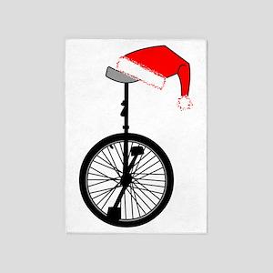 Unicycle Santa Hat 5'x7'Area Rug
