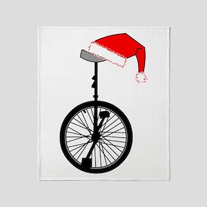 Unicycle Santa Hat Throw Blanket