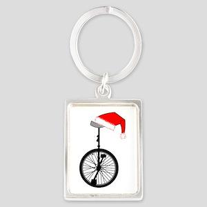 Unicycle Santa Hat Keychains