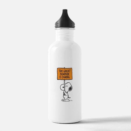 The Great Pumpkin Is C Water Bottle