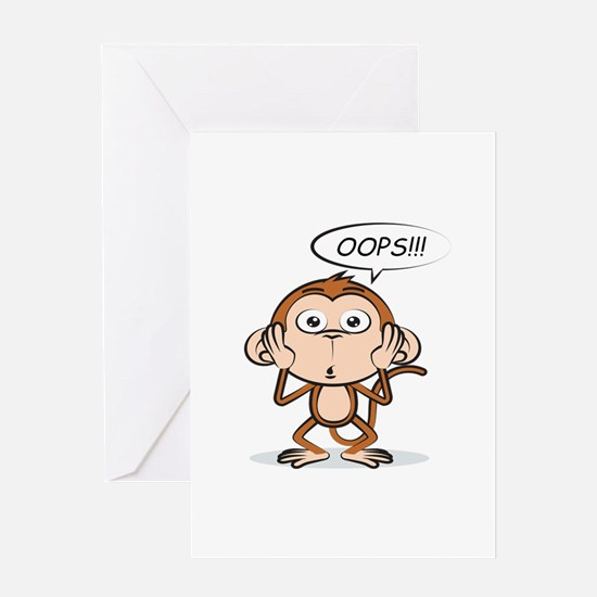 Monkey Says Oops! Greeting Cards