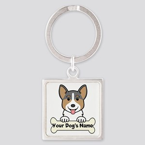 Personalized Corgi Square Keychain