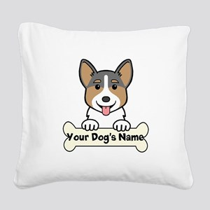 Personalized Corgi Square Canvas Pillow