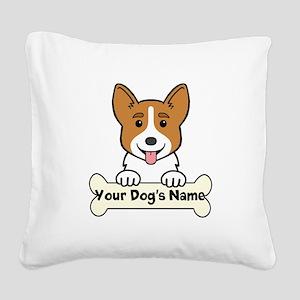 Personalized Corgi Square Canvas Pillow