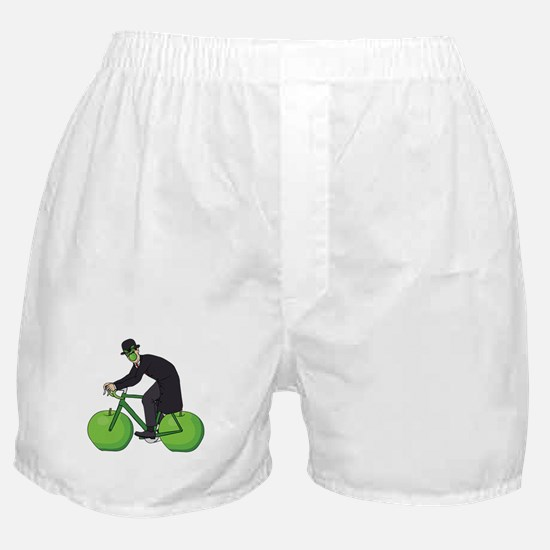 Son Of Man Riding Bike With Apple Whe Boxer Shorts