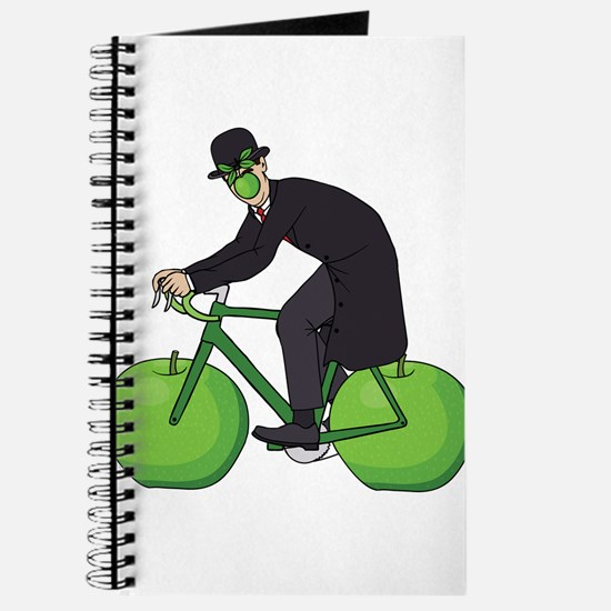 Son Of Man Riding Bike With Apple Wheels Journal