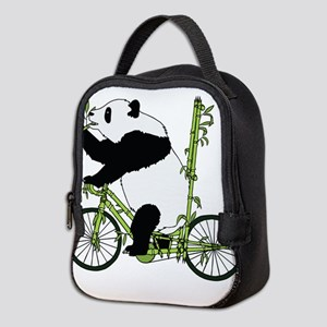 Panda Bear Riding Bamboo Bike Neoprene Lunch Bag