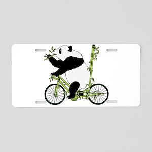 Panda Bear Riding Bamboo Bi Aluminum License Plate
