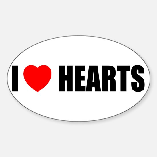 I Love Hearts Oval Decal