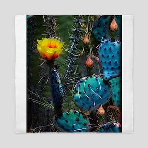 Yellow Prickly Pear Cactus Queen Duvet