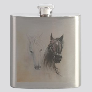 Horses Canvas Painting Flask
