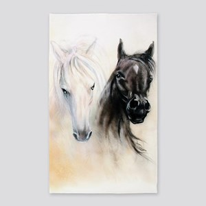 Horses Canvas Painting Area Rug