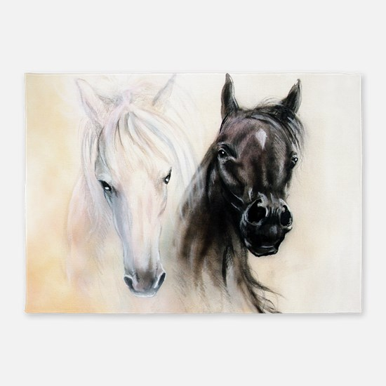 Horses Canvas Painting 5'x7'Area Rug