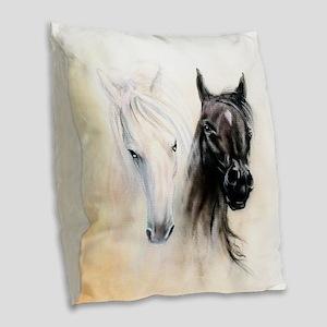 Horses Canvas Painting Burlap Throw Pillow