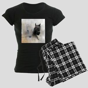 Horses Canvas Painting Women's Dark Pajamas