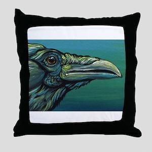 Rainbow Raven Crow Bird WildlifeArt Throw Pillow