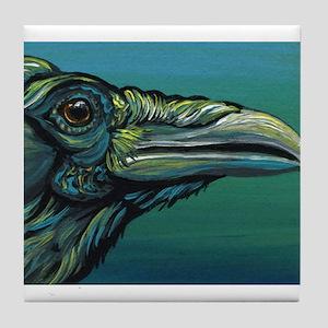 Rainbow Raven Crow Bird WildlifeArt Tile Coaster