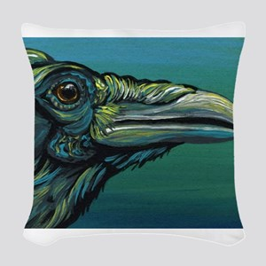 Rainbow Raven Crow Bird WildlifeArt Woven Throw Pi