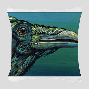 Rainbow Raven Crow Bird WildlifeArt Woven Throw Pi