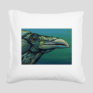 Rainbow Raven Crow Bird WildlifeArt Square Canvas