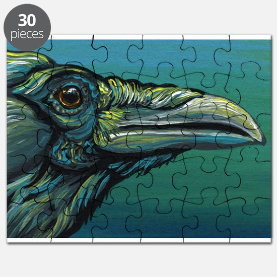 Rainbow Raven Crow Bird WildlifeArt Puzzle