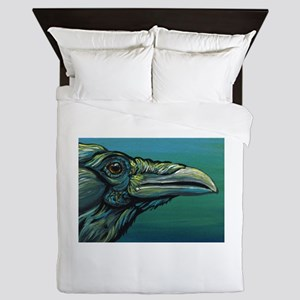 Rainbow Raven Crow Bird WildlifeArt Queen Duvet