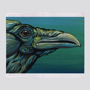 Rainbow Raven Crow Bird WildlifeArt Throw Blanket