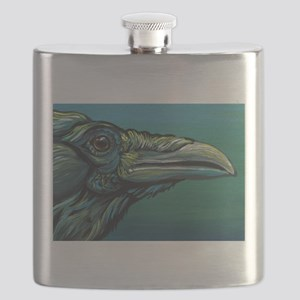 Rainbow Raven Crow Bird WildlifeArt Flask