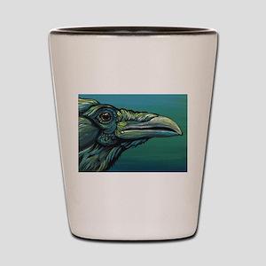 Rainbow Raven Crow Bird WildlifeArt Shot Glass