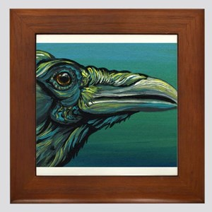 Rainbow Raven Crow Bird WildlifeArt Framed Tile
